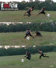 The Walking Dead funny meme. This scene kinda reminded me of lizzy playing tag with the walker lol