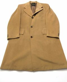 Men's Vintage 100% CASHMERE Overcoat By El Dorado Luxury Size 44 Large Camel Tan #ElDorado #Trench