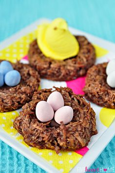 Chocolate Bird's Nest Cookies ~ chocolate coconut macaroon nests topped with Peeps chicks and mini chocolate eggs | FiveHeartHome.com