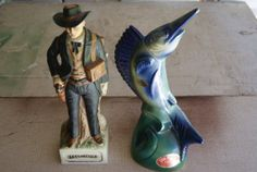 Blue Marlin Decanter By EZRA BROOKS And Jesse James Decanter By McCORMICK