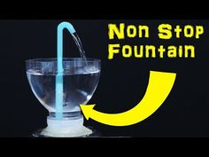 Make a non stop water fountain out of 3 plastic bottles and straws. This really cool self pouring liquid science trick is a great experiment to try at home. Physics Projects, Science Projects For Kids, Science For Kids, Heron Fountain, Diy Fountain, Science Tricks, Science Experiments, Amazing Life Hacks, Useful Life Hacks