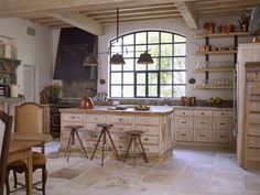 Kitchen Elements and Stone Flooring from Chateau Domingue Rustic Kitchen, Kitchen Dining, Kitchen Ideas, Kitchen Counters, Kitchen Designs, Kitchen Cabinetry, Kitchen Island, Dining Room, Light Wood Cabinets