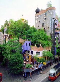Intensive green roof, Hundertwasserhaus, Vienna, Austria