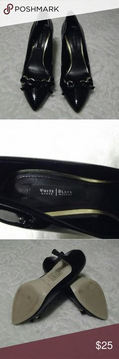 White House Black Market Patent Leather Heels Classic black patent heels with gold chain and bow detail, size 10m with a 3 inch heel White House Black Market Shoes Heels