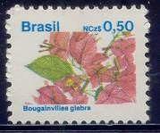 Selos: Brazilian Flora. Bougainvillea glabra (Brasil) (Flora) Mi:BR 2304,Sn:BR 2178,Yt:BR 1923,RHM:BR 671