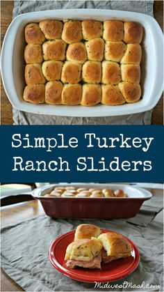 Simple Turkey Ranch Sliders Simple Turkey Ranch Sliders Simple Turkey Ranch Sliders<br> These simple little sandwiches will please everyone. Perfect for an after school snack, potluck dish, or weekend lunch! Rolled Sandwiches, Slider Sandwiches, Turkey Sandwiches, Baked Turkey, Sliced Turkey, Potluck Dishes, Slider Recipes, Turkey Recipes, Food To Make