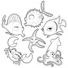 ausmalbilder ozean meereswelt meerestiere unterwassertiere | unterwasser tiere, meerestiere und