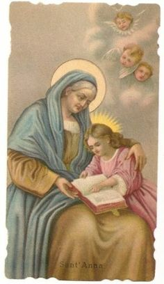 St. Anne Sant'Anna with Angels - Antique Holy Card - Italy