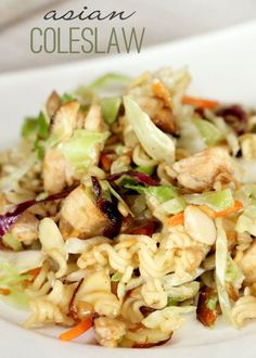 This asian coleslaw salad recipes makes the perfect spring or summer salad! Bring this to your backyard BBQ or any party this summer and it will be a hit! I can't believe how easy it is!: by amandawest