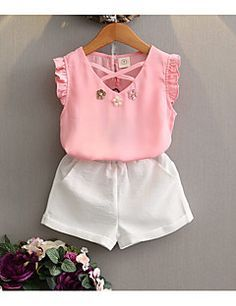 Retail Kids 2017 girls clothes summer girls clothing kids clothes girl Chiffon Solid T-shirts+shorts clothing sets years 5 Summer Girls, Kids Girls, Baby Girls, Little Girl Fashion, Kids Fashion, Style Fashion, New Girl Style, Donia, Kids Outfits