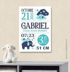 Ce tableau sera parfait pour faire un cadeau de naissance original et personnalisé ou pour décorer la chambre de votre bébé. Il sera du plus bel effet dans un cadre.  MATÉR - 15938323