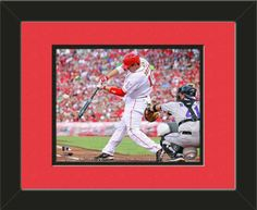 One framed 8 x 10 inch Cincinnati Reds photo of Jay Bruce, double matted in team colors to 11 x 14 inches.  $39.99 @ ArtandMore.com