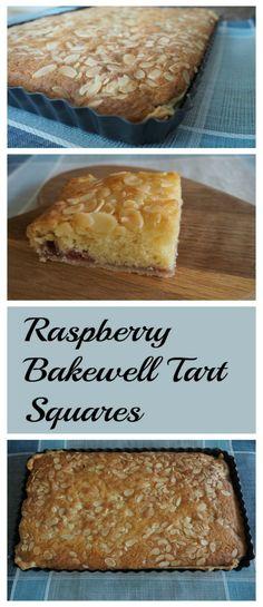 Deliciously easy Raspberry Bakewell Tart Squares cake ca… Baking Recipes, Cake Recipes, Dessert Recipes, Baking Desserts, Cake Baking, Party Recipes, Tray Bakes, No Bake Cake, Sweet Recipes