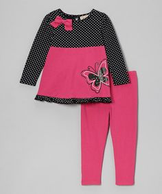 Take a look at this Hot Pink Polka Dot Butterfly Top & Leggings - Infant & Toddler by Carter's Watch the Wear on #zulily today!