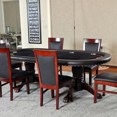 Love the plaid bar stools and the poker table log cabin dreams poker table with a double pedestal base and 6 matching side chairs converts into a watchthetrailerfo