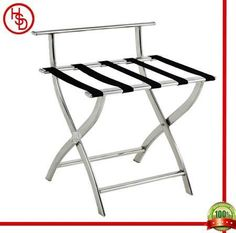 HOUSED-豪仕达,酒店用品/hotel articles # J-13B luggage rack # 整体:201#镜钢;横条:5条尼龙织带/201# stainless steel(mirror finished) with 5pcs black nylon band  # size:60*47*66CM