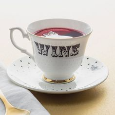 Yvonne Ellen 'Wine' Teacup And Saucer ($44) ❤ liked on Polyvore featuring home, kitchen & dining and drinkware