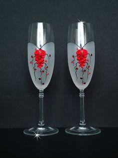 Boda Champagne flautas flautas tostado gafas con cristales y