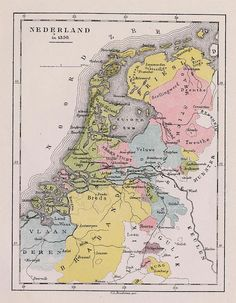 The Netherlands, 1350 -- map from 1881 by C. European Map, European History, Early World Maps, Holland Map, Netherlands Map, Alternate History, Historical Maps, Old Maps, Vintage Maps
