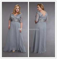 Wholesale Mother of the Bride Dresses - Buy 2014 Silver Plus Size Mother of the Bride Dresses with Sleeves V Neck Ruched Beads Lace Chiffon Mother of the Groom Dress Long Evening Gowns, $149.0 | DHgate