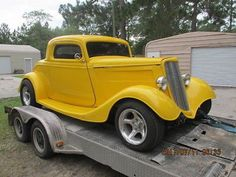 1934 Ford Cpe  1934 Ford 3-window vintage fiberglass replica body with 2″ chop
