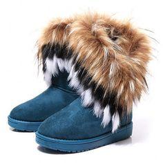 ファッションキツネの毛皮暖かい秋冬ウェッジ雪の女性のブーツ靴genuinei mitationレディショートブーツカジュアルロング雪の靴