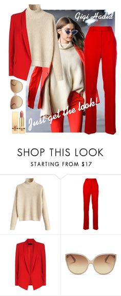 """Gigi Hadid's style"" by caroldahlem ❤ liked on Polyvore featuring Calvin Klein 205W39NYC, ESCADA, Linda Farrow, Yves Saint Laurent, gigihadid and hadidsisters"