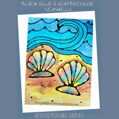 Black Glue and Watercolors is a beautiful technique with gorgeous results. Sea shell and ocean art. Summer arts and crafts for kids