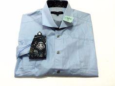 Bogosse Aramis 6 XXL Men's Blue Flip Cuff Long Sleeve Cotton Shirt $226 NEW NWT #Bogosse #ButtonFront
