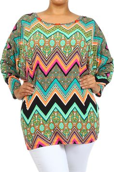 Neon tribal chevron design tunic top, piko / dolman style sleeves . regular and plus sizes ... Facebook.com/Lety.Rangel