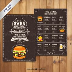 menu du restaurant Grill dans le style rétro Vecteur gratuit