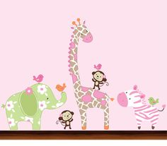 Girls Jungle Animals Decals - Vinyl Wall Art Decal Sticker