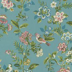 PiP Botanical Print Sea Blue behang 375062 uit de collectie Pip Wallpaper IV van Eijffinger is verkrijgbaar bij kleurmijninterieur