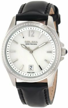 Golana Swiss Women's AU100-4 Aura Pro 100 White Mother-of-Pearl Dial Leather Watch Golana Swiss. $344.99. Stainless steel case. Case diameter: 34 mm. Water-resistant to 330 feet (100 M). Date feature. Quartz movement. Save 68% Off!
