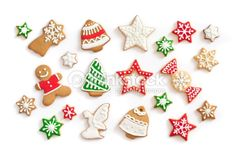 Stock Photo : Gingerbread cookies on white background
