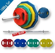 """BodyRip 108kg Polygonal Weight Plates and 7FT 1"""" Standard Barbell Set: Amazon.co.uk: Sports & Outdoors"""