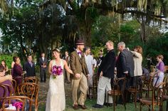 Bentwood Chairs in Walnut at Outdoor Wedding, Magnolia Plantation, Charleston, SC