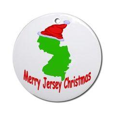 Merry Jersey Christmas Ornament (Round) on CafePress.com New Jersey USA #newjersey