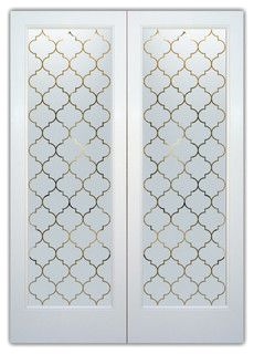 I like this ogee pattern design for the frosted glass pocket door