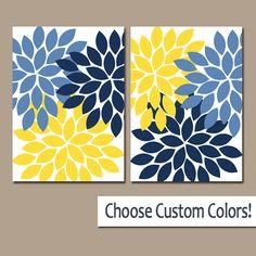 Navy Blue Yellow WALL ART Canvas or Prints Bathroom by TRMdesign