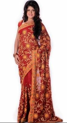 Dazzling Diva Red Embroidered Saree