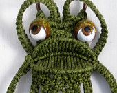 Vintage Avocado Green Macrame Frog Towel Holder