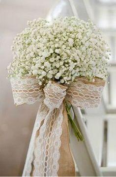 Just babysbreath, burlap & lace. simple & elegant.