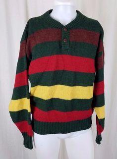 57f5cf28bd Eddie Bauer Knit Striped Wool Henley SWEATER Pullover Mens L Bright Loud USA  #EddieBauer #
