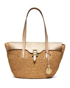 MICHAEL Michael Kors Naomi Large Straw Leather-Trim Tote Bag, Pale Gold 0c8be3978d