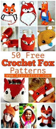 50 Free Crochet Fox Patterns - Crochet Fox Hat - Crochet Blanket, Crochet Basket, Crochet Scarf, Crochet Booties and Much more you want from free crochet patterns. Crochet Fox Pattern Free, Crochet Animal Patterns, Free Crochet, Scarf Patterns, Amigurumi Patterns, Crochet Animals, Free Pattern, Crochet Beanie, Crochet Baby