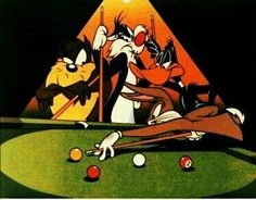 Bugs Bunny playing pool with daffy duck