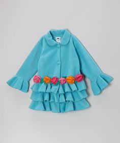 This girly jacket combines endearing style with enduring craftsmanship. Featuring bright colors and a playful design, it's easy to spot a little darling sporting this fleecy piece on a playground. 100% polyesterMachine wash; tumble dryImported
