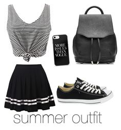 """#summeroutfit #blackandwhite #skirt"" by hanka-rybakova ❤ liked on Polyvore featuring WithChic, Converse and rag & bone"