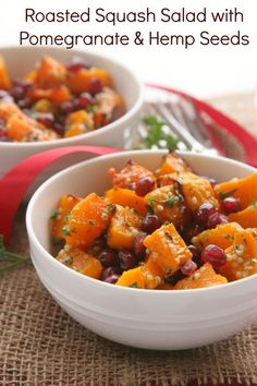 Roasted Squash Salad with Pomegranate & Hemp Seeds recipe